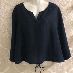 Ellen Tracy navy linen long sleeve top sz XL